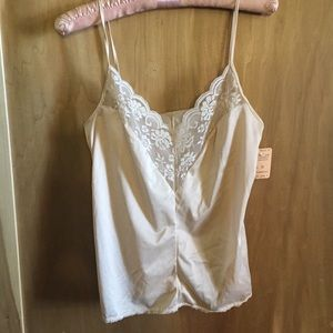 Peachy pink 70s Slip Top Camisole with Lace size S